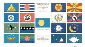 Palau - 2002 - Flags of All States - Sheet of Seventeen - MNH