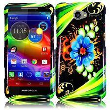 For Motorola Electrify M XT901 Rubberized HARD Case Snap Phone Cover Aqua Flower
