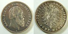 5 Mark 1888 Karl  Württemberg  5 Mark Silber kleiner Adler 1888  ss bis ss-vz
