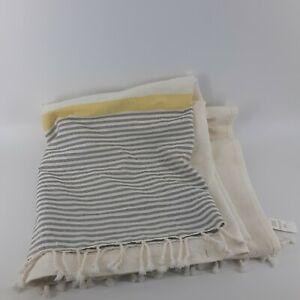 West Elm Beige Turkish Towel Style Shower Curtain Gray Yellow Striped Fringe