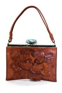 Valentino Garavani Womens Mini Floral Applique Leather Tote Handbag Brown