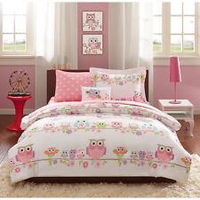 FULL 8 Pc Girls OWL BEDDING SET Bag Pink Purple Flowers Animal Comforter Sheets