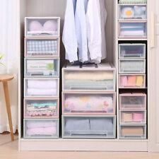 Stackable Box Chest Plastic Transparent Drawer Unit Organizer Wardrobe Storage