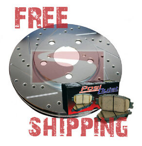 Lincoln Mark VII ABS 85-92 FRONT Drill Slot Brake Rotors + POSI QUIET Pads
