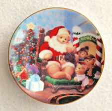 "AVON 2¾"" Miniature 2001 Christmas Plate Ornament A Visit with Teddy Bear Santa"