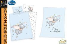 Disney`s Dumbo Baby Bettwäsche 40x60 100x135 oder Flauschdecke 75x100cm Herding