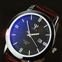 Fashion Men's Sport Watch Brown Leather Band Stainless Steel Quartz Wrist Watch
