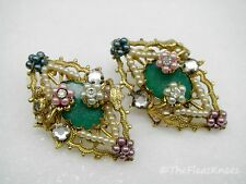 "Vintage Miriam Haskell Style Diamond Shaped Flower Earrings Large 1.75"""