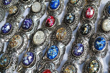 Wholesale Lot Mixed Jewelry 5Ps Shell gemstone stone Silver plated Ring