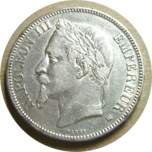 elf France 5 Francs 1869 BB Silver  2nd Empire   Napoleon III