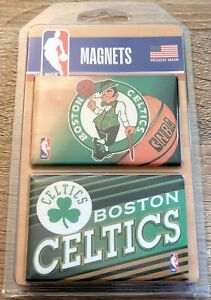 "NBA Boston Celtics Basketball 2"" x 3"" Refrigerator Magnet Set Of 2 Brand New"