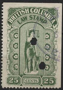 Canada VanDam #BCL23 25c green BC Law Stamp - 5th series (hairy leg) - 1912