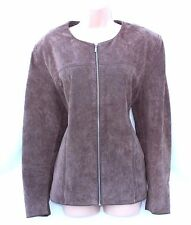 Brown 100% Real Leather CUBUS Fitted Women's Blazer Jacket Coat Size UK 18
