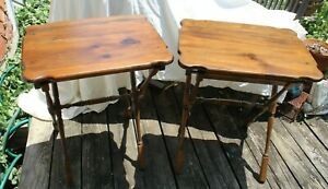 Vintage Ethan Allen TV Tray Folding Side Tables - Set of 2 - ONE REPAIRED BREAK