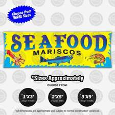 Seafood Mariscos Banner Food Restaurant Open Sign Shrimp Camaron Cuisine Fish