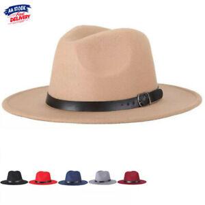 Wool Felt Fedora Jazz Wide Brim Hat Large Cap For Ladies and Gentlemen Fashion