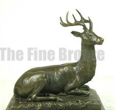 Bronze sculpture Elk Stag Buck Deer Statue, signed P.Lecourtier