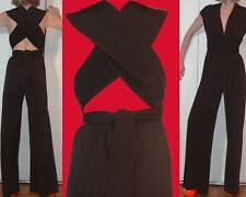 MODA INTL WRAP BROWN HALTER JUMPSUIT PALAZZO BELLBOTTOM CUT OUT CROSS BACK S M L