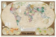 """World Map - Triple View Educational Poster  24""""x 36"""" New"""