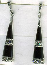 925 Sterling Silver Black Onyx & Marcasite Drop / Dangle Earrings 38mm x 7mm