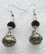 Dangle earrings - Tibetan silver drops, black glass bead