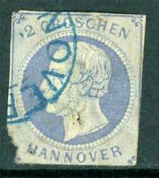 Germany 1859 Hannover 2gr Ultramarine SG # 26 VFU I13