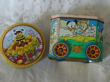 2 Tins Duck Farm Bus and Maja the Bee Canister