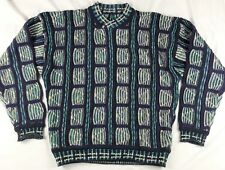 VTG Coogi Style Sweater Mens Large Purple Teal Long Sleeve Striped Pullover 0945d222d