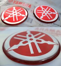 YAMAHA GENUINE TANK FAIRING GEL RED FLEXIBLE BADGES 40MM + 30MM * 3 x STICKERS *