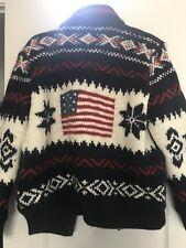 $695 Ralph Lauren Polo Wool Navy Blue Hoodie Sweater Jacket  USA Large