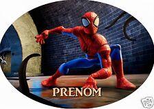 PLAQUE DE PORTE OVALE RIGIDE réf 159 spiderman personnalisée prénom