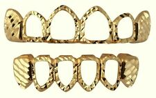 14K Gold Plated Teeth Mouth Grillz Set w/ Mold Kit Diamond Cut Open Face Player