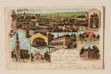 29165 Litho AK Gruß aus Lissa Pommern Bahnhof Post Gericht Krankenhaus 1903