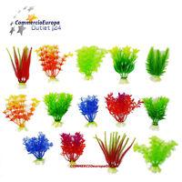6 pz Piante Finte in Plastica per Decorazione Acquario Assortite 11 cm plant