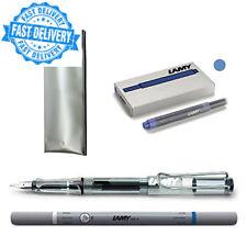 Stylo-plume Lamy Safari Vista + étui + Pack de 5 Bleu cartouches + encre gomme