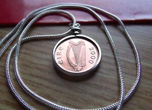 "2000 MILLENIAL IRISH COPPER COIN CHARM w/18k 24"" White Gold Filled Round Chain"