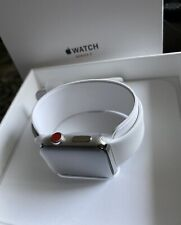 Apple Watch Series 3 - 42mm Stainless Steel/White Sport Band (GPS & Cellular)