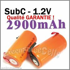 2 Batteries Sub Ni-mh C Rechargeable 1.2V 2900mAh à Patte pile accu accus Orange
