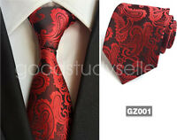 Fashion Mens Black Red Paisley Style Silk Tie Necktie JACQUARD WOVEN Tie