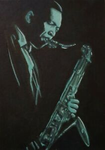 Original Aceo art sketch card John Coltrane Jazz Musician Saxophonist Ink