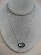 """Estate Costume Sarah Coventry Abalone Paua Shell Oval Pendant Necklace 16"""""""