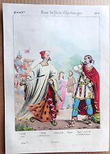 GRAVURE COULEUR 1834 DELAUNOIS COSTUMES CHARLEMAGNE NOBLE SEIGNEUR k907