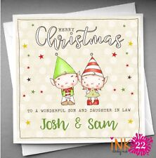 Personalised Christmas Card Special Couple Daughter and Son in Law Elf Elves.