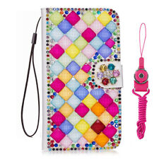 Bling Crystal fashion Leather slots Wallet Flip Protective Case Cover & strap #a