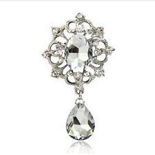 Crystal, Party / Wedding Brooch Vintage Silver Teardrop Crown Brooch Rhinestone