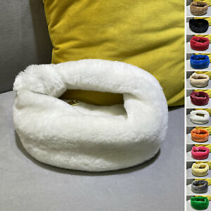 Small Mini Real Fur Shearling Furry Knotted Handle Tote bag Hobo Pouch Purse