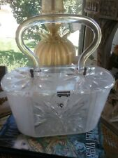 Vintage Lucite Mop White Wedge Shaped Clear Starburst Lid Handbag Purse Rialto*