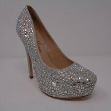 b462fa6988766 Lauren Lorraine 5.5 Gray Silver Women Shoe Vanna Rhinestones Platform  Stiletto