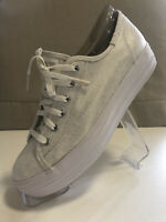 Keds Sneakers Silver & White Lace Up Low Tops WF58063M US 6 Sample Shoes