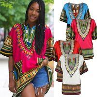 Unisex Tribal African Shirt Dress Men Women Dashiki Print Hippie Style Caftan